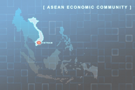 Modern map of South East Asia countries that will be member of AEC with Vietnam flag symbol in background Stock Photo - 16288284