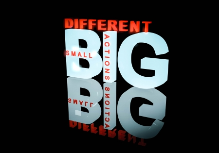Small actions, big different conceptual text logo design using 3d on black background Stock Photo