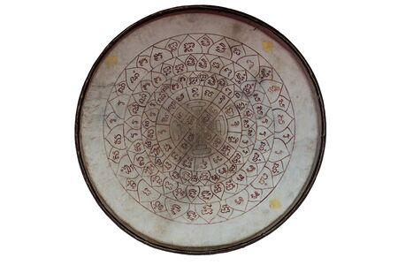 talisman: Asian wooden leather old temple drum with very old vintage talisman tattoo symbo on it,l Stock Photo
