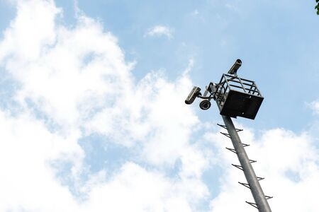 Multiple CCTVs on a light pole taken on a sunny day Stock Photo - 16288589
