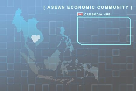 Modern map of South East Asia countries that will be member of AEC with Cambodia flag symbol in background Stock Photo - 16439117