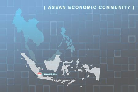 seaa: Modern map of South East Asia countries that will be member of AEC with Indonesia flag symbol in background
