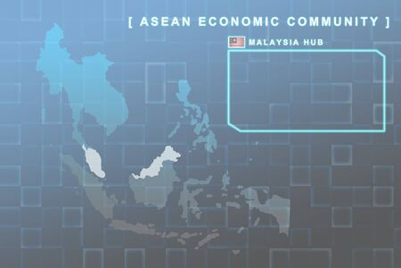 seaa: Modern map of South East Asia countries that will be member of AEC with Malaysia flag symbol in background