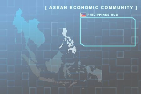 seaa: Modern map of South East Asia countries that will be member of AEC with Philippines flag symbol in background
