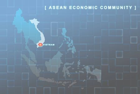 Modern map of South East Asia countries that will be member of AEC with Vietnam flag symbol in background Stock Photo - 16439123