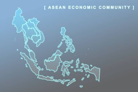 Modern map of South East Asia countries that will be member of AEC with each country flag symbols in background photo