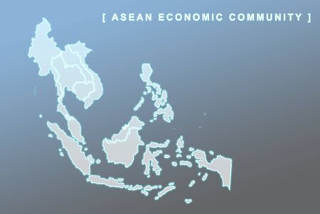 aec: Modern map of South East Asia countries that will be member of AEC with each country flag symbols in background
