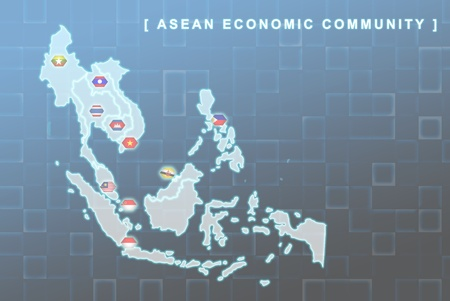 Modern map of South East Asia countries that will be member of AEC with each country flag symbols in background Stock Photo - 16535634