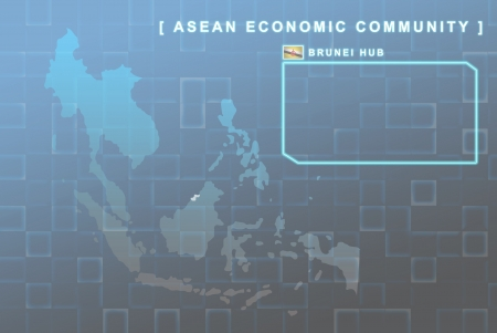 Modern map of South East Asia countries that will be member of AEC with Brunei flag symbol in background photo