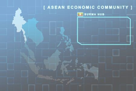 seaa: Modern map of South East Asia countries that will be member of AEC with Burma flag symbol in background