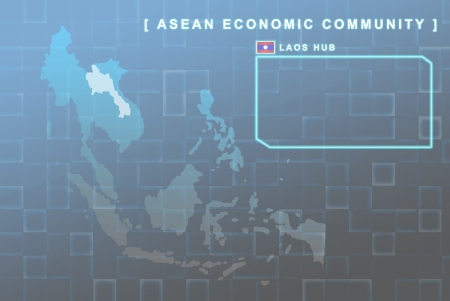 seaa: Modern map of South East Asia countries that will be member of AEC with Laos flag symbol in background