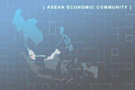 Modern map of South East Asia countries that will be member of AEC with Malaysia flag symbol in background Stock Photo - 16535619