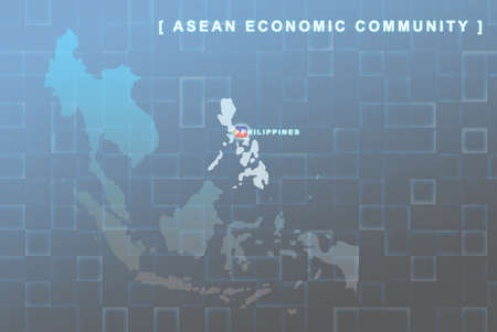 Modern map of South East Asia countries that will be member of AEC with Philippines flag symbol in background Stock Photo - 16535617