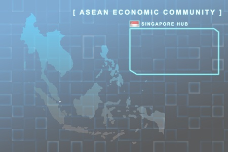 Modern map of South East Asia countries that will be member of AEC with Singapore flag symbol in background