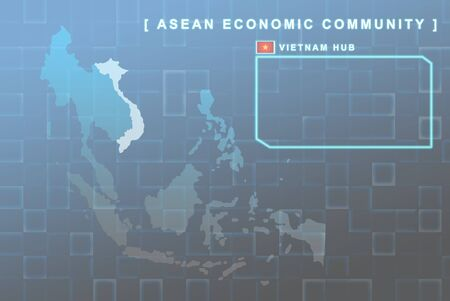 Modern map of South East Asia countries that will be member of AEC with Vietnam flag symbol in background photo