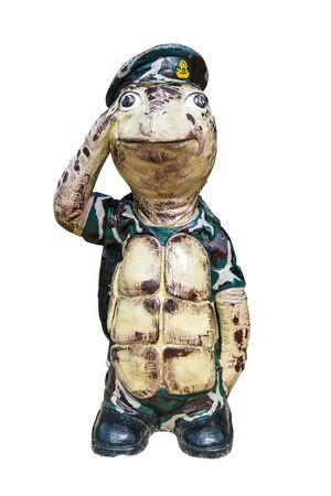 large turtle: A large turtle doll with expression, isolated in white Stock Photo