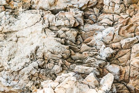 Solid limestone rock texture with muliple cracks, taken near the beach on a sunny day photo