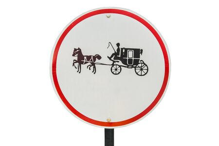 be careful: Be careful of horse circular metal sign, isolated in white background