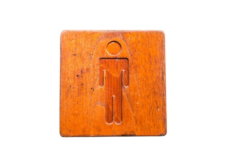 Brown hard wood polished toilet sign, taken outdoor on a sunny day
