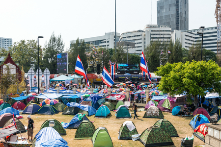 undemocratic: BANGKOK - FEBRUARY 2: Protesters camp site at Victory monument during Thailands protest against the government at central Bangkok on February 2, 2014 in Bangkok, Thailand. Editorial