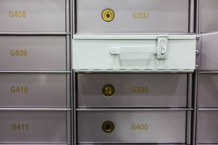 Security deposit box in a safe room, useful for wealth, business, finance concepts Stock Photo