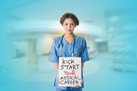 Female Asian nurse on white background, useful for digital health care, digital medical care, ehospital, e-medication concepts