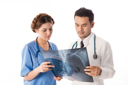 Asian male medical doctors with xray film on white background, useful for medical, hospital, medication, surgent, medical advise, doctor, health care concepts