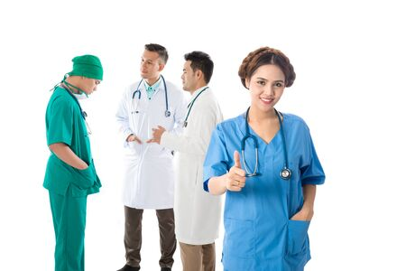 Asian male and female doctor and nurse on white background, useful for digital health care, digital medical care, ehospital, e-medication concepts