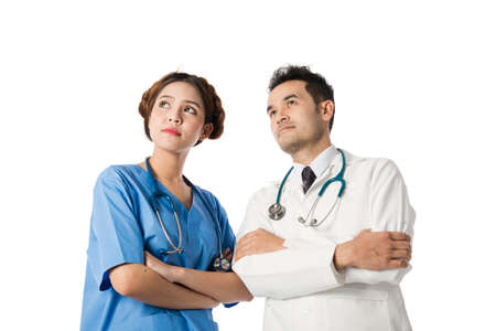 surgent: Asian male medical doctors and nurse on white background, useful for medical, hospital, medication, surgent, medical advise, doctor, health care concepts