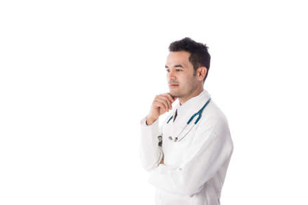 surgent: Asian male medical doctor on white background, useful for medical, hospital, medication, surgent, medical advise, doctor, health care concepts Stock Photo