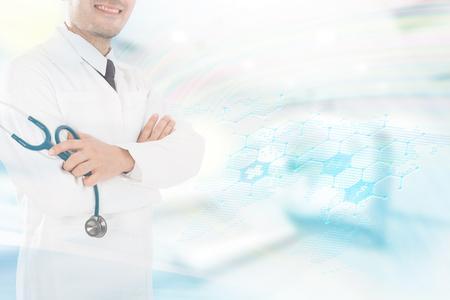 Asian male medical doctor on white background, useful for medical, hospital, medication, surgent, medical advise, doctor, health care concepts Banque d'images