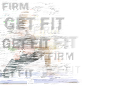 Beautiful young fit asian woman doing yoga. Mixed media. Asian girl performing yoga indoor with text effect on white background. For sport, fitness, life style, zen, technology concepts.