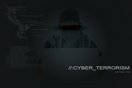 Asian cyber attacker hacking with powerful laptop. For mixed media hacking cyber security program internet online shopping security protection anti virus malware visual communication design concept 写真素材