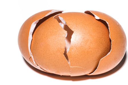 cracked: cracked egg two layers Stock Photo