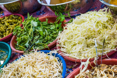 side dishes: vegetable side dishes of traditional Thai food Kanom Jean