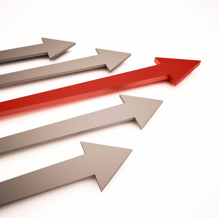 3d rendered arrows. concept of leading competition business