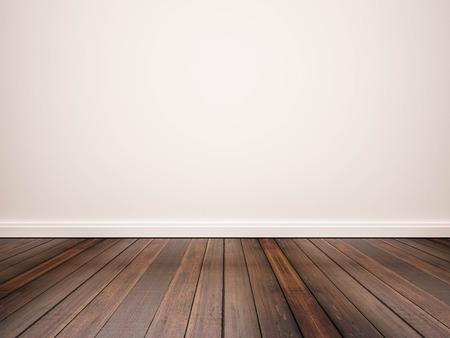 suelos: piso de madera y pared blanca