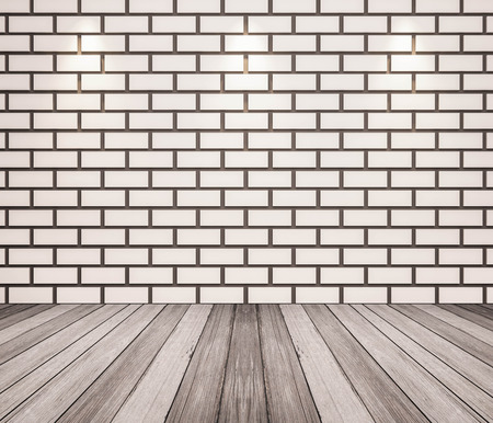white wood floor: white wood floor and brick wall