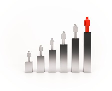 role models: 3d rendered people standing on bar graph. people below looking to the above people