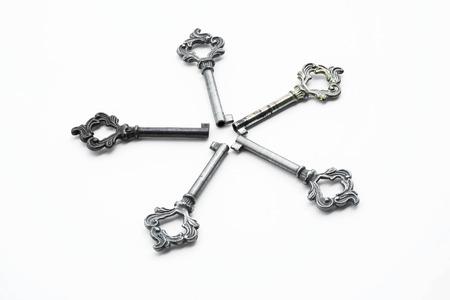 harmonize: Vintage keys aligned on circle, on white background