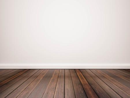 Hardwood floor and white wall Archivio Fotografico
