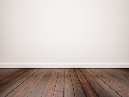 Hardwood floor and white wall Banque d'images