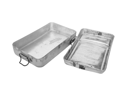 old container: Old retro stainless food container with lid