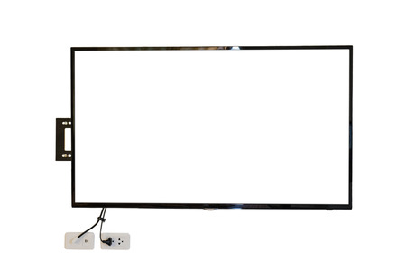 tv wall: LED TV, wall installation with plug and outlet, isolated on white background