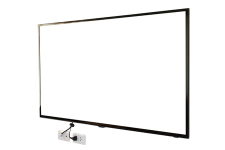 fullhd: LED TV, wall installation with plug and outlet, isolated on white background