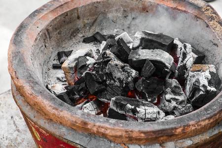 extinguish: Close-up extinguish fire coal in stove Stock Photo