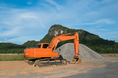 loader: Excavator loader machine at construction site