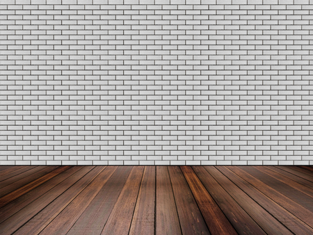 hardwood: Hardwood floor with bricks wall Stock Photo