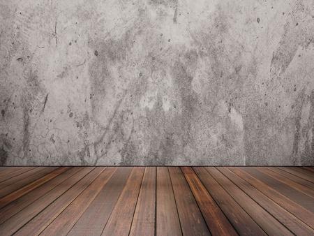 piso de madera y la textura del muro de cemento