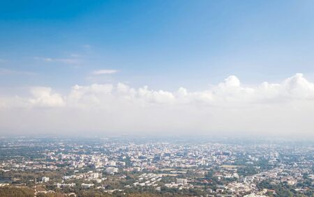 hazy: City view with hazy environment in winter, at Chiang Mai, Thailand Stock Photo